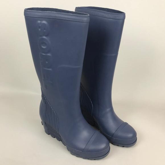 57480cf8576c Sorel Joan Rain Wedge Tall Boot Size 8 Blue